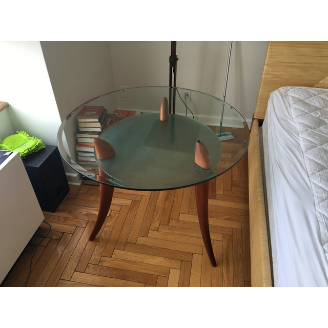 Architectural Design Wood & Glass Side Table - Image 6 of 8