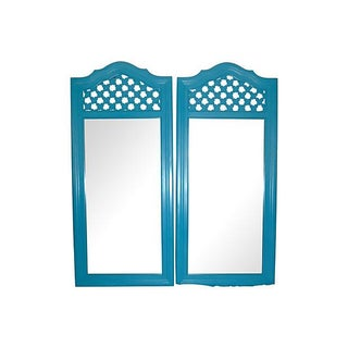 1970's Satin Lagoon Mirrors - A Pair
