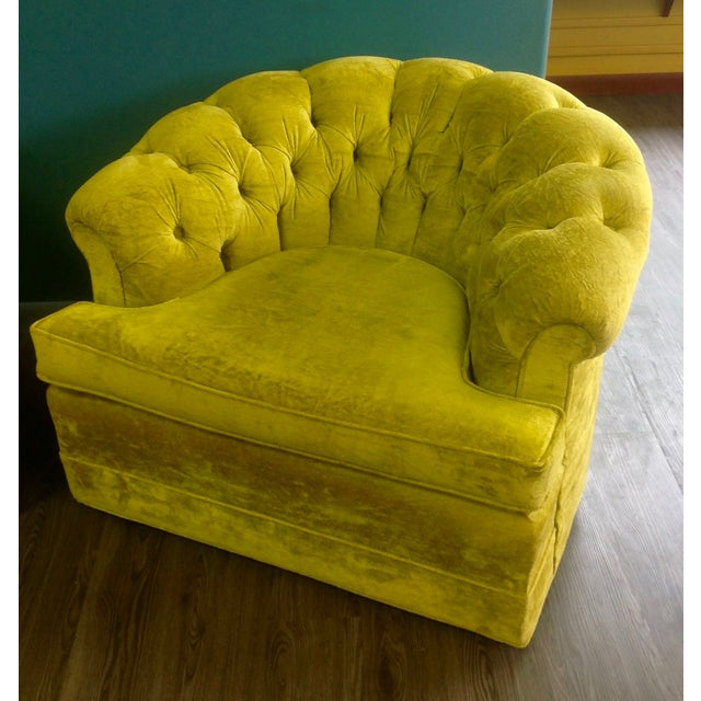 Mid-Century Tufted Chartreuse Club Chairs - A Pair - Image 3 of 8