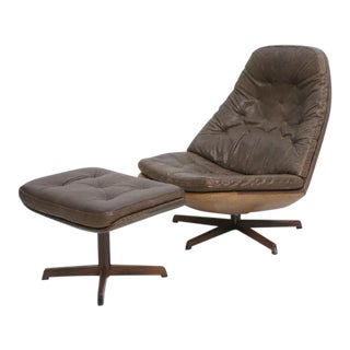 Madsen & Schubel MS68 Danish Brown Leather Rocking Lounge Chair with Ottoman