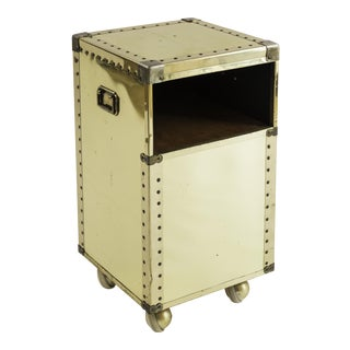 Sarreid Petit Brass-Clad Side Table on Casters