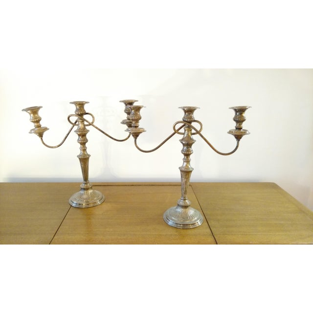 Image of British Silver Plated Candelabras - A Pair
