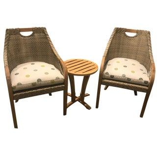 Lane Venture Outdoor Edgewood Dining Arm Chairs & Side Table Set - Set of 3