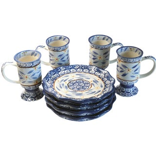 Floral Cups and Dessert Plates - 8 Pieces