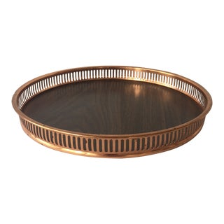 Copper Galleried Faux Wood Tray