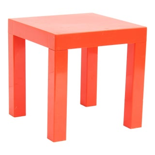 Red Acrylic Parsons Side Table