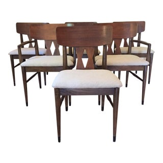 Walnut Diamond Back Dining Chairs - Set of 6