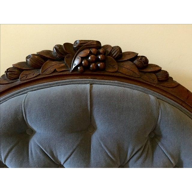 Blue Velvet Victorian Walnut Frame Sofa - Image 3 of 5