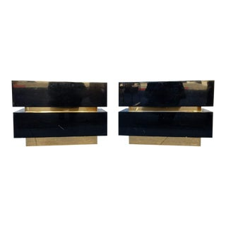 1970's Vintage Black & Gold Nightstands - A Pair