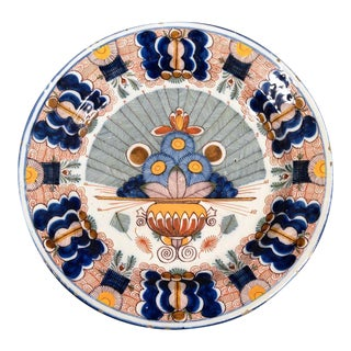Dutch Delft Polychrome Peacock Dish, De Blompot Factory, 18th-century.