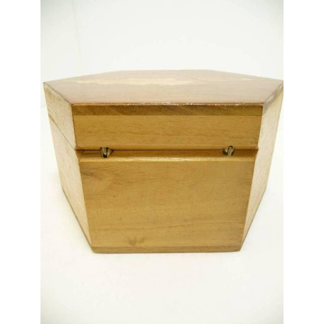 Vintage Hexagon Sea Shell Inlay Wood Box - Italy - Image 6 of 7