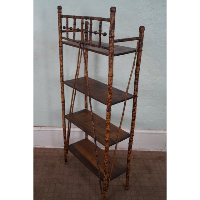 Antique 19th Century Bamboo Frame Open Bookcase - Image 5 of 5