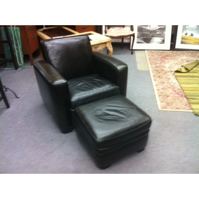 Image of Room and Board Leather Chair & Ottoman