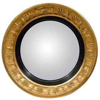 English Petite Early 19th Century Giltwood Convex Mirror with Foliage Motifs