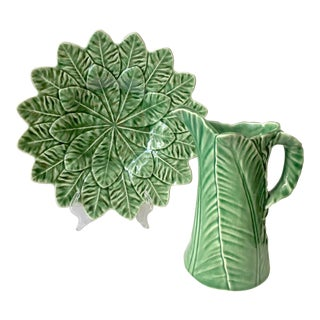 Vintage Green Majolica Pitcher and Serving Platter