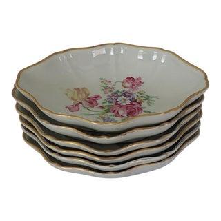 Elegant Porcelain Floral Berry/Dessert Bowls S/6
