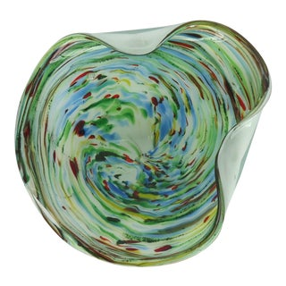 Murano Multicolor Swirl Glass Dish