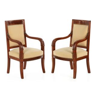 Empire Mahogany Arm Chairs, Early 20th Century - Pair