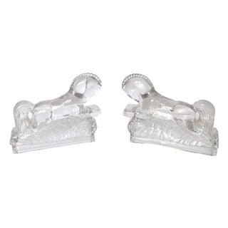 Art Deco Style Glass Galloping Horse Bookends - 2