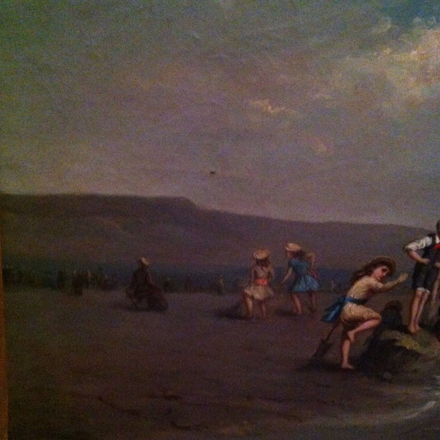 Image of Antique French Painting Of Children On The Beach