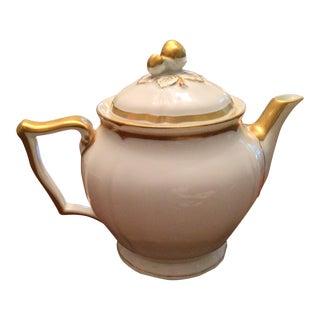 Raynaud Marie Antoinette Tea Pot Gold Trim Limoges Ceralene