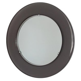 Smoked Lucite Framed Round Wall Mirror
