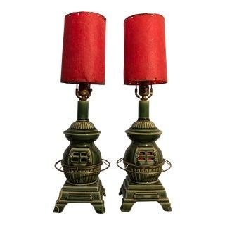 McCoy Vintage Mid Century Modern Stove Lamp - A Pair