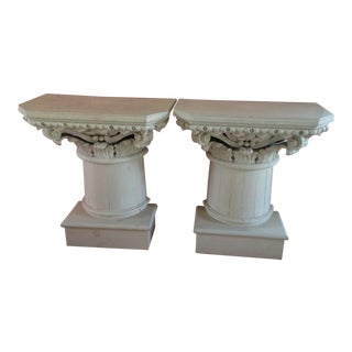 Antique Carved Architectural Console Tables - A Pair