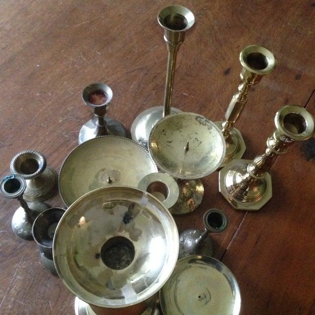 Vintage Brass Candleholders - Set of 14 - Image 9 of 10