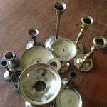 Image of Vintage Brass Candleholders - Set of 14