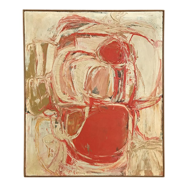 1961 Signed Abstract Expressionist Oil on Canvas Painting - Image 1 of 8