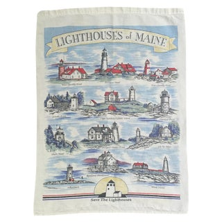 Vintage Lighthouses of Maine Tea Towel