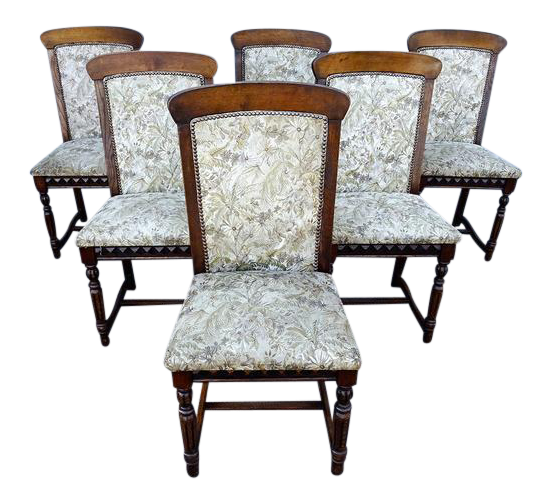 French Antique Louis XIV Style Oak Wood Dining Chairs   Set Of 6