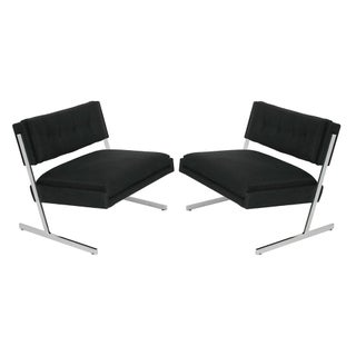 Harvey Probber Chrome Cantilever Lounge Chairs