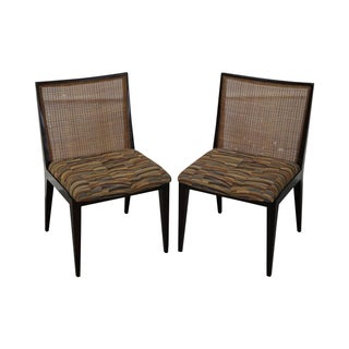 Dunbar Mid Century Modern Cane Back Chairs - Pair