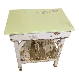 Vintage Rustic Hand Painted Bird Table With Handle
