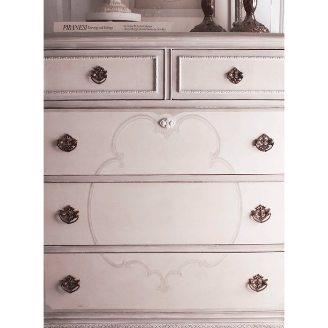 Hand-Painted Vintage Tall Dresser - Image 4 of 10