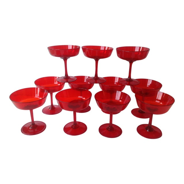 Mid-Century Ruby Red Crystal Coupe Champagne Glasses - Set of 11 - Image 1 of 6