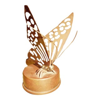 Vintage Butterfly Brass Music Box