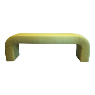 Green Silk Upholstered Waterfall Bench