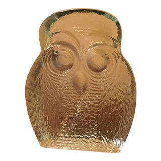 Clear Blenko Glass Owl Bookend