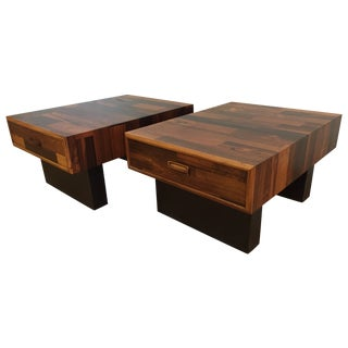 Brazilian Rosewood End Side Tables - A Pair