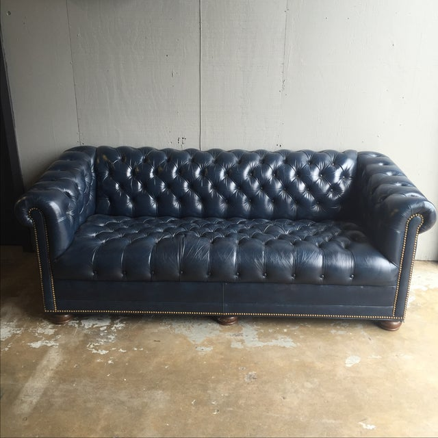 Vintage navy blue leather tufted chesterfield sofa chairish for Navy blue tufted sectional sofa