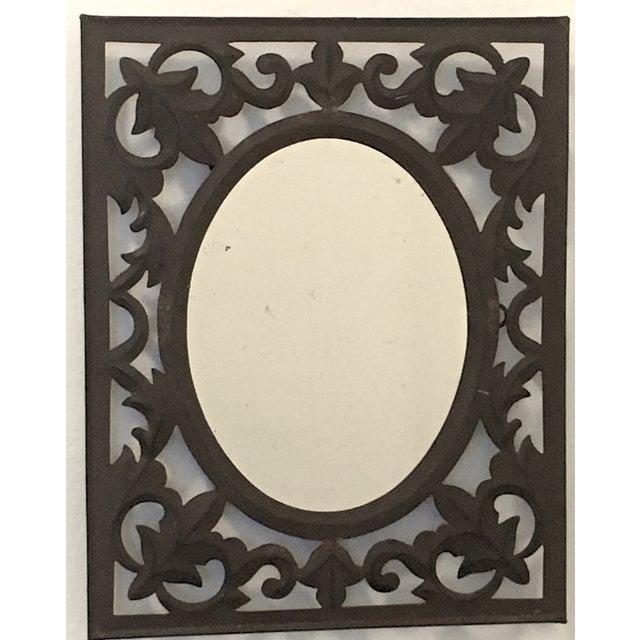 Vintage wrought iron wall mirror chairish for Wrought iron mirror