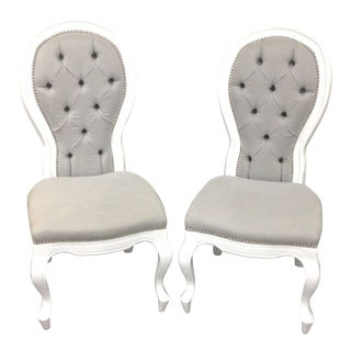 White & Grey Riveria Tufted Chairs - A Pair