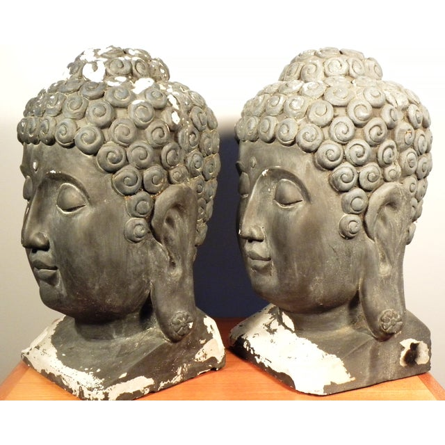 Large Matching Buddha Heads - A Pair - Image 4 of 6