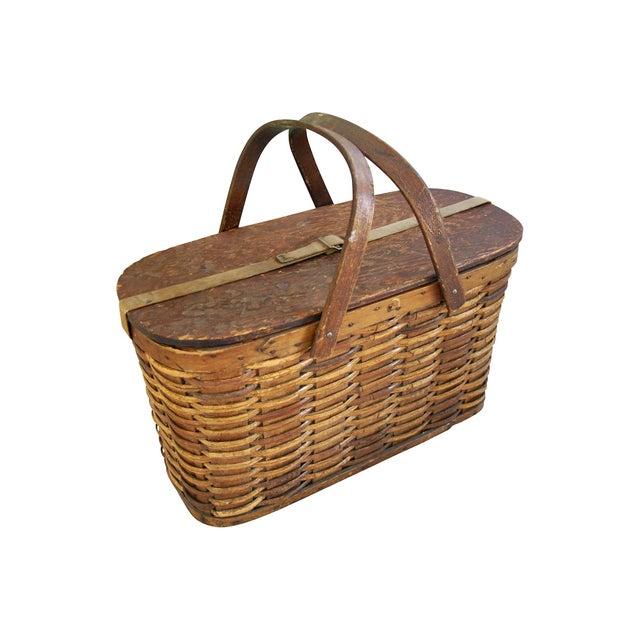 Picnic Basket Spotlight : Antique s hawkeye wicker tin picnic basket chairish