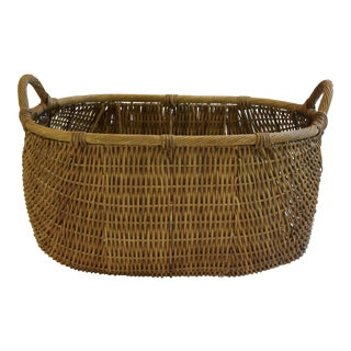 Vintage Double Handled Oval Wicker Basket