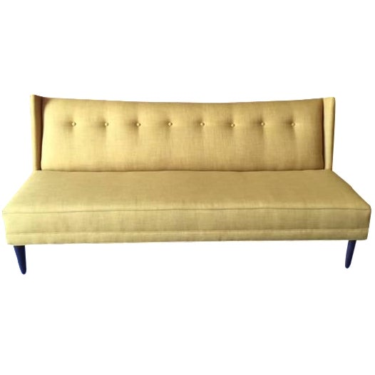 mid century style custom mustard sofa chairish. Black Bedroom Furniture Sets. Home Design Ideas