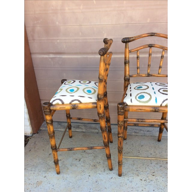 Walters Wicker Carlyle Bamboo Bar Stools - a Pair - Image 5 of 6
